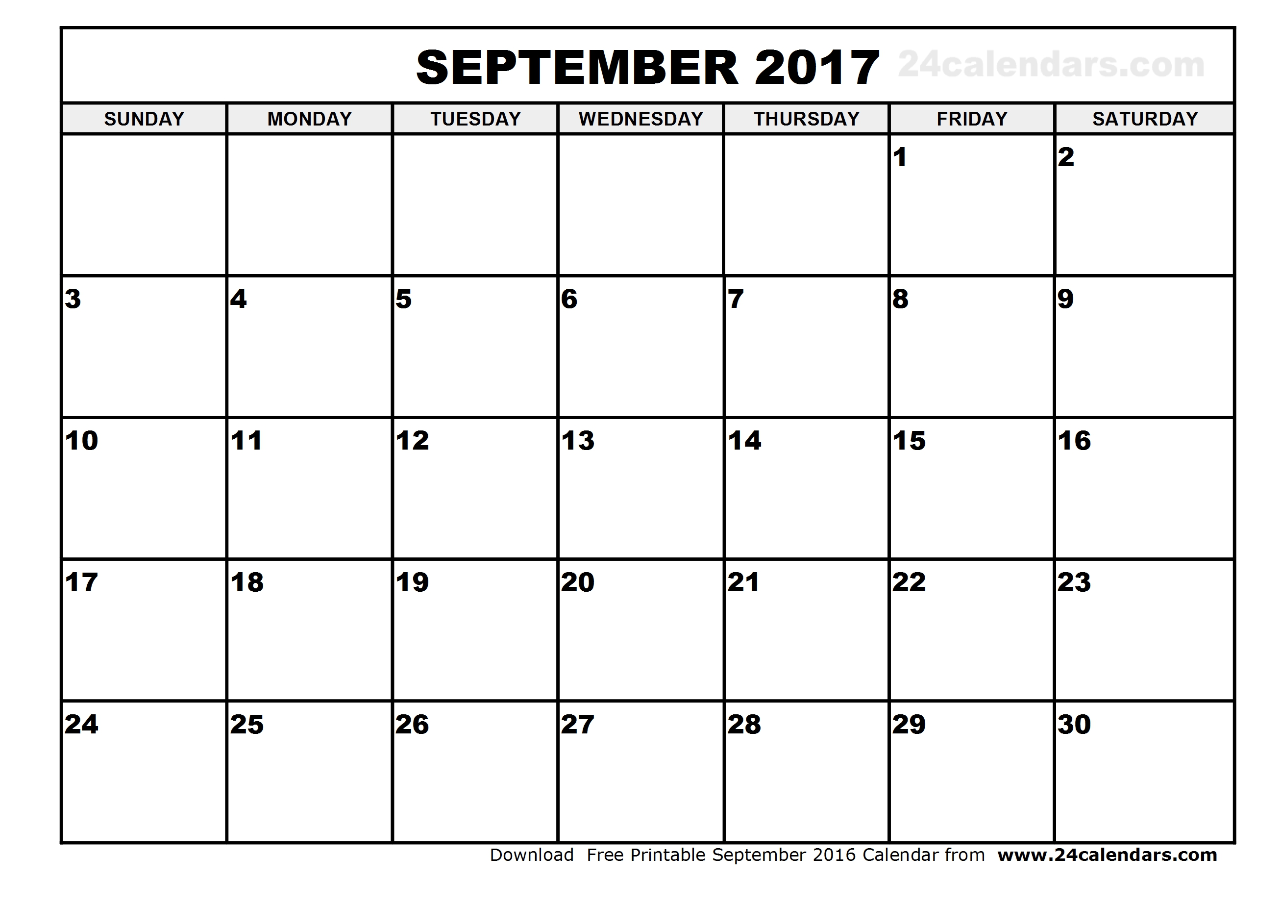September 2017 Calendar Template | weekly calendar template