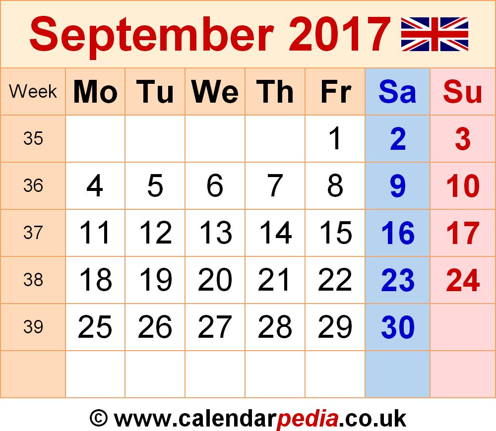 Calendar September 2017 UK, Bank Holidays, Excel/PDF/Word Templates