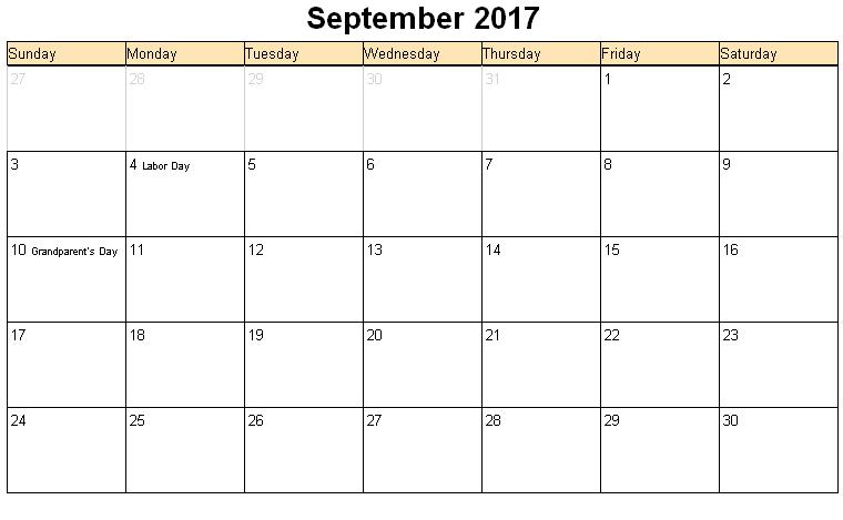 September 2017 Calendar With Holidays | weekly calendar template