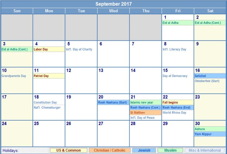 September 2017 Calendar With Holidays | free calendar 2017