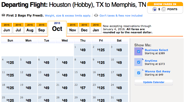Big Southwest Sale: Fares Start at 2,240 Points or $49!