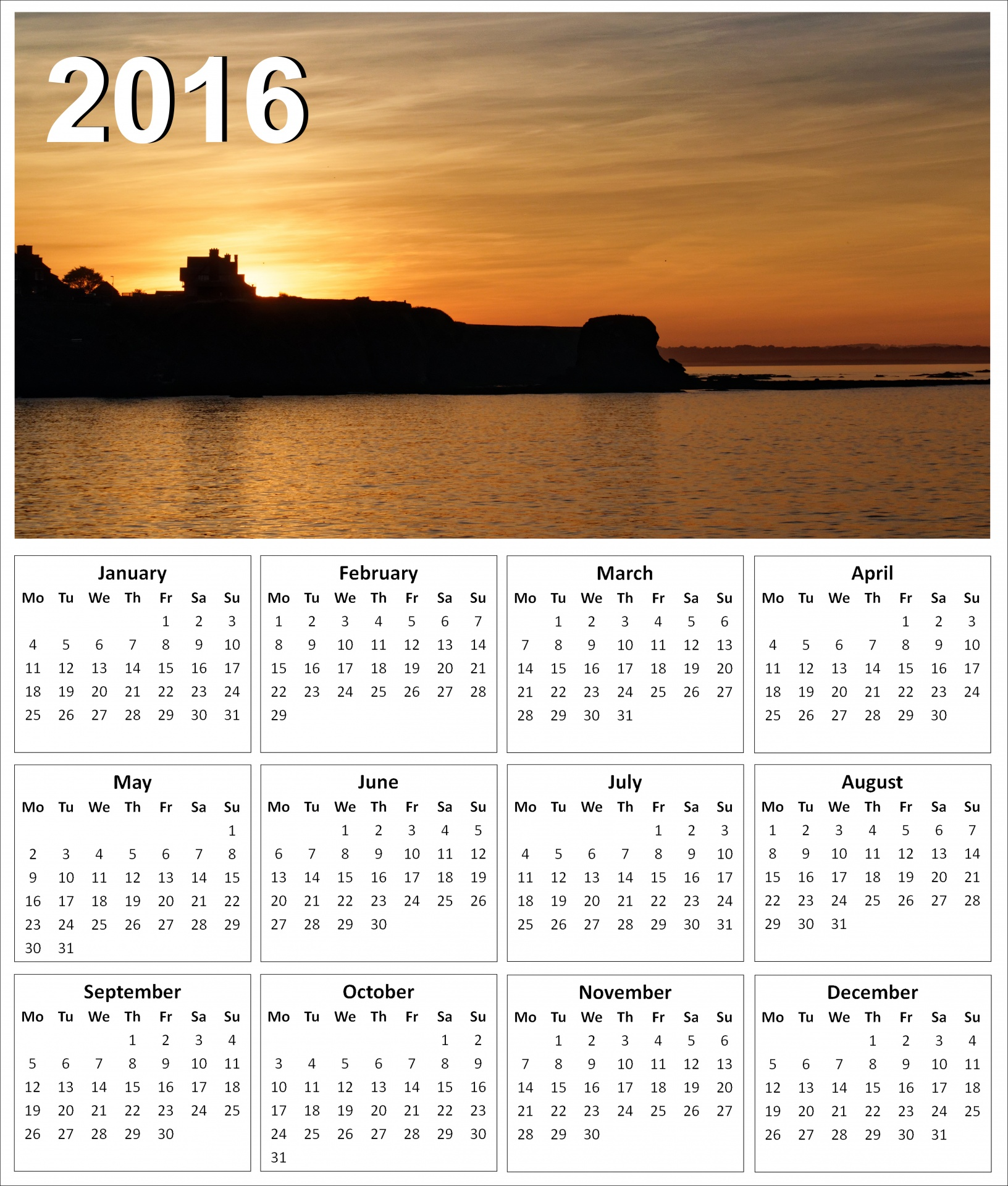 2016 Sunset Calendar Free Stock Photo Public Domain Pictures