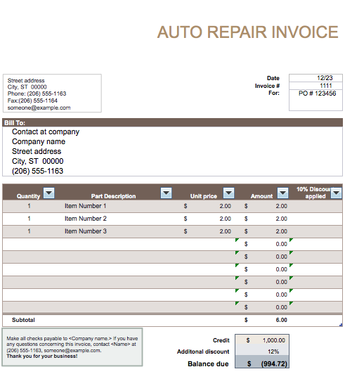 Car Rental Invoice Template | printable invoice template