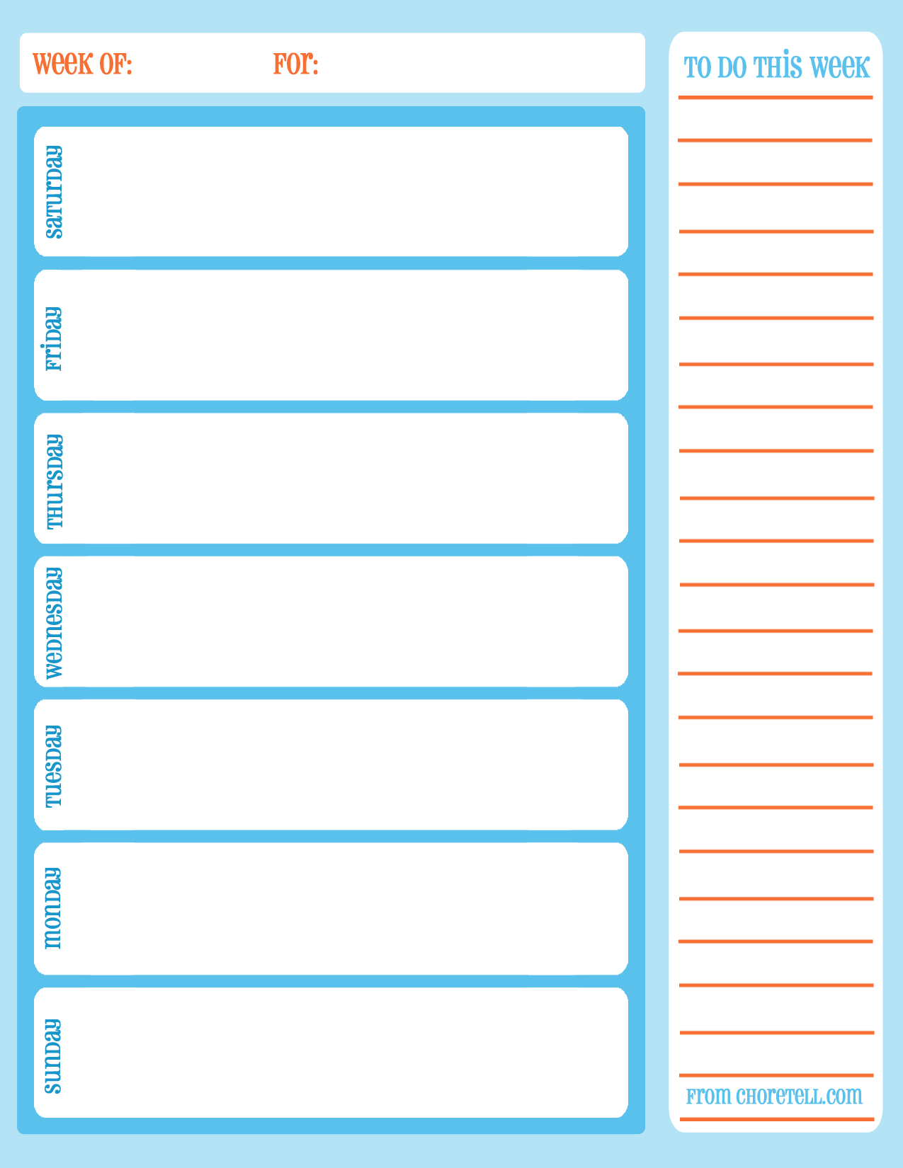Free printable weekly chore calendar | Free printable downloads