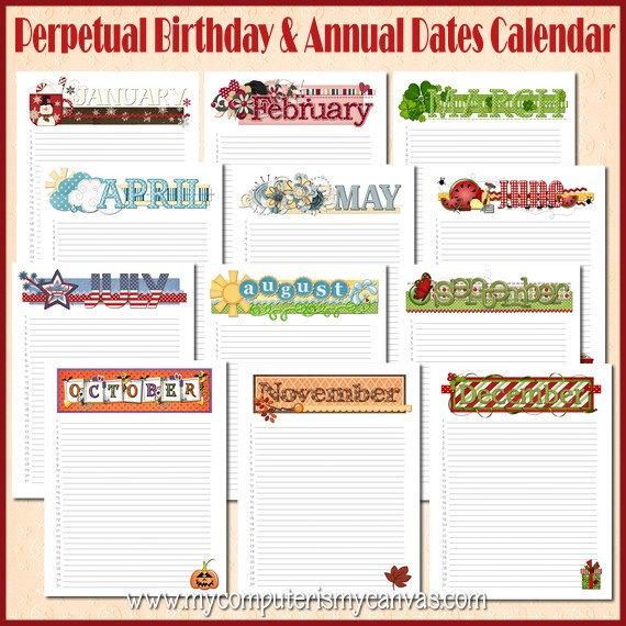 Annual Birthday Calendar Yearly Date Organizer by TipJunkie