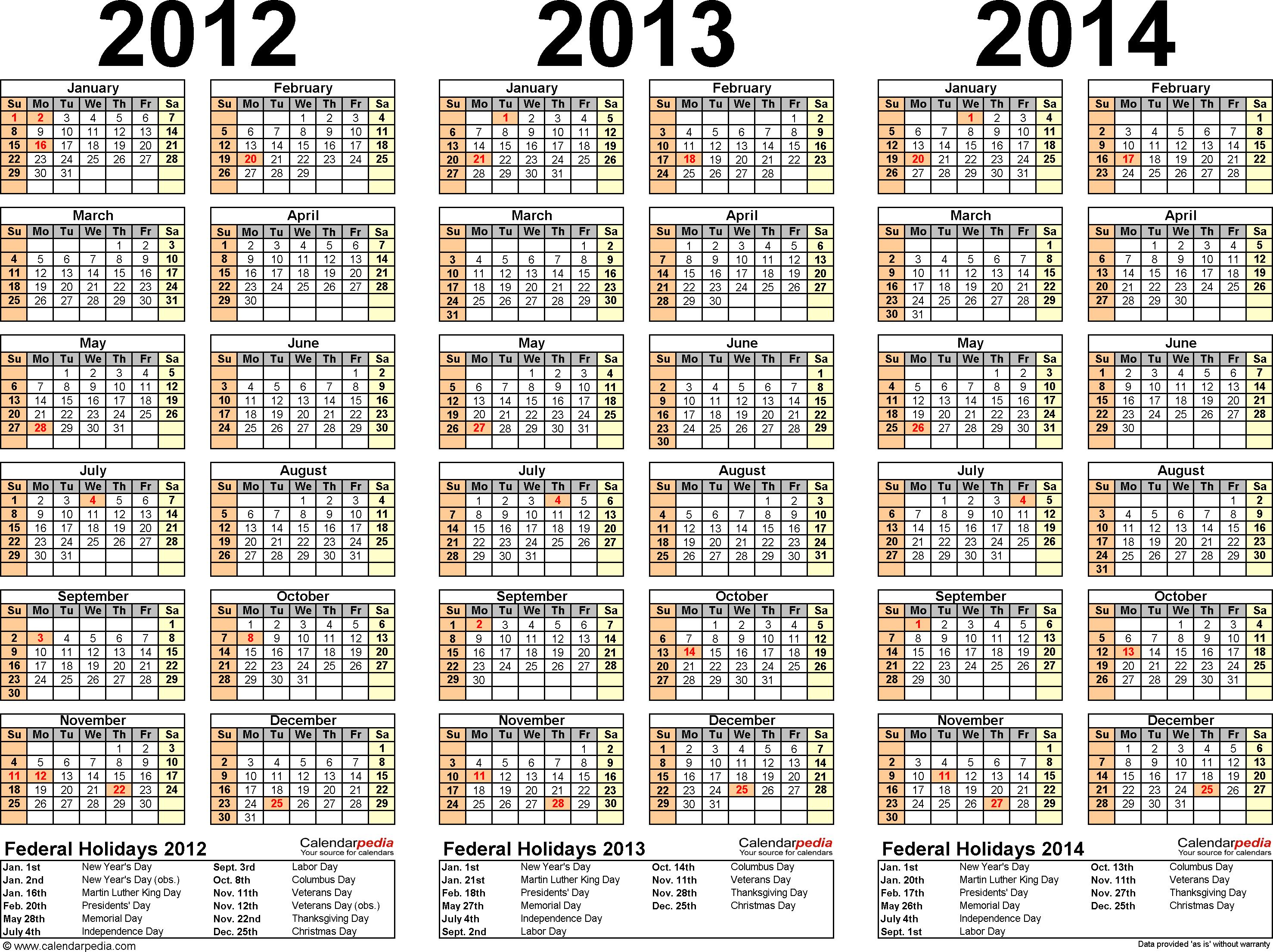 2012/2013/2014 calendar 2 three year printable PDF calendars