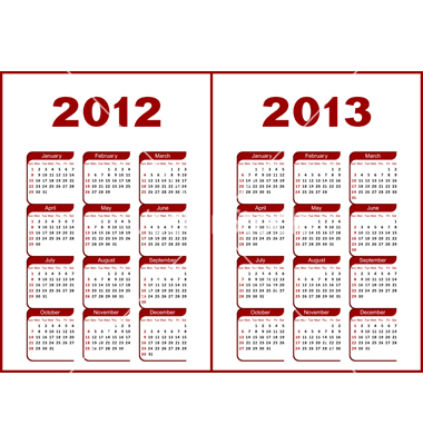 Yearly Calendar 2012 And 2013 | yearly calendar printable