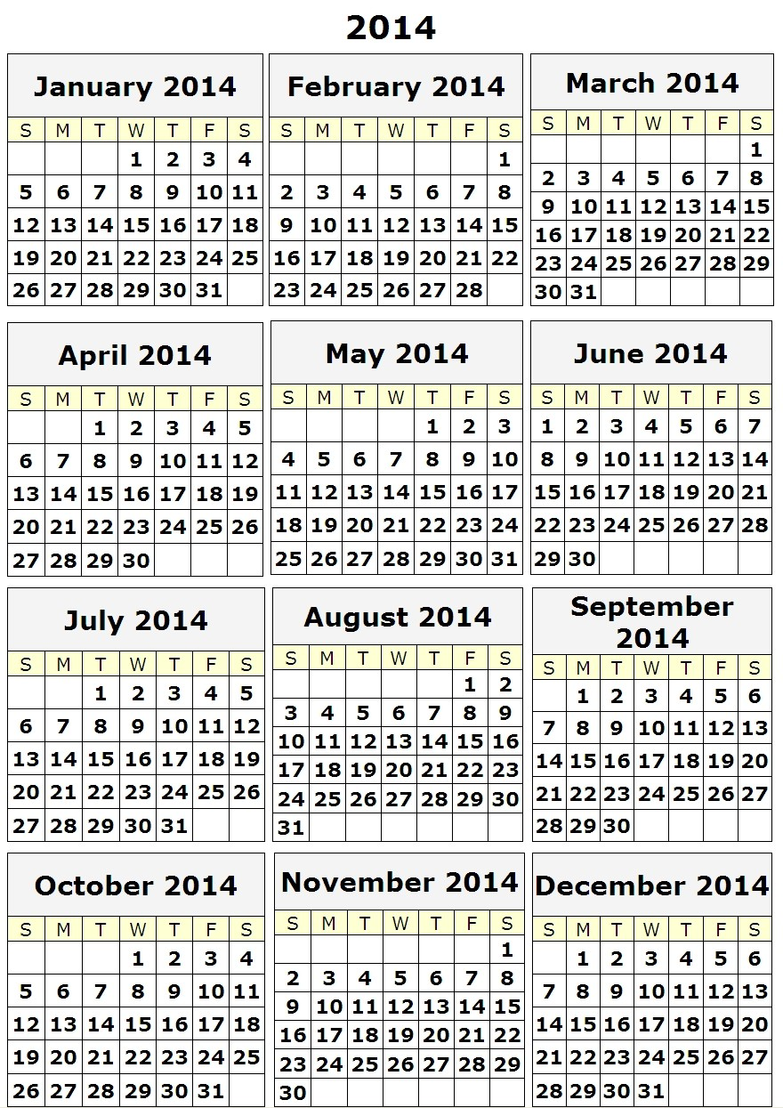 Best Photos of Calendar 2014 Only Printable Yearly Printable