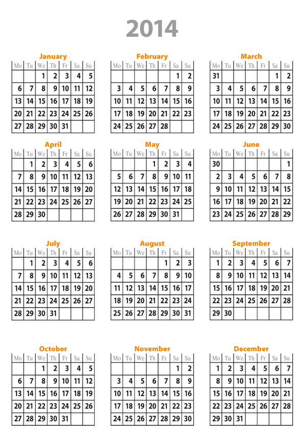 Yearly Calendar 2014 Templates Free Printable