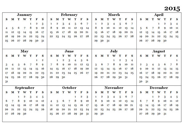 Yearly Calendar 2015 Templates Free Printable
