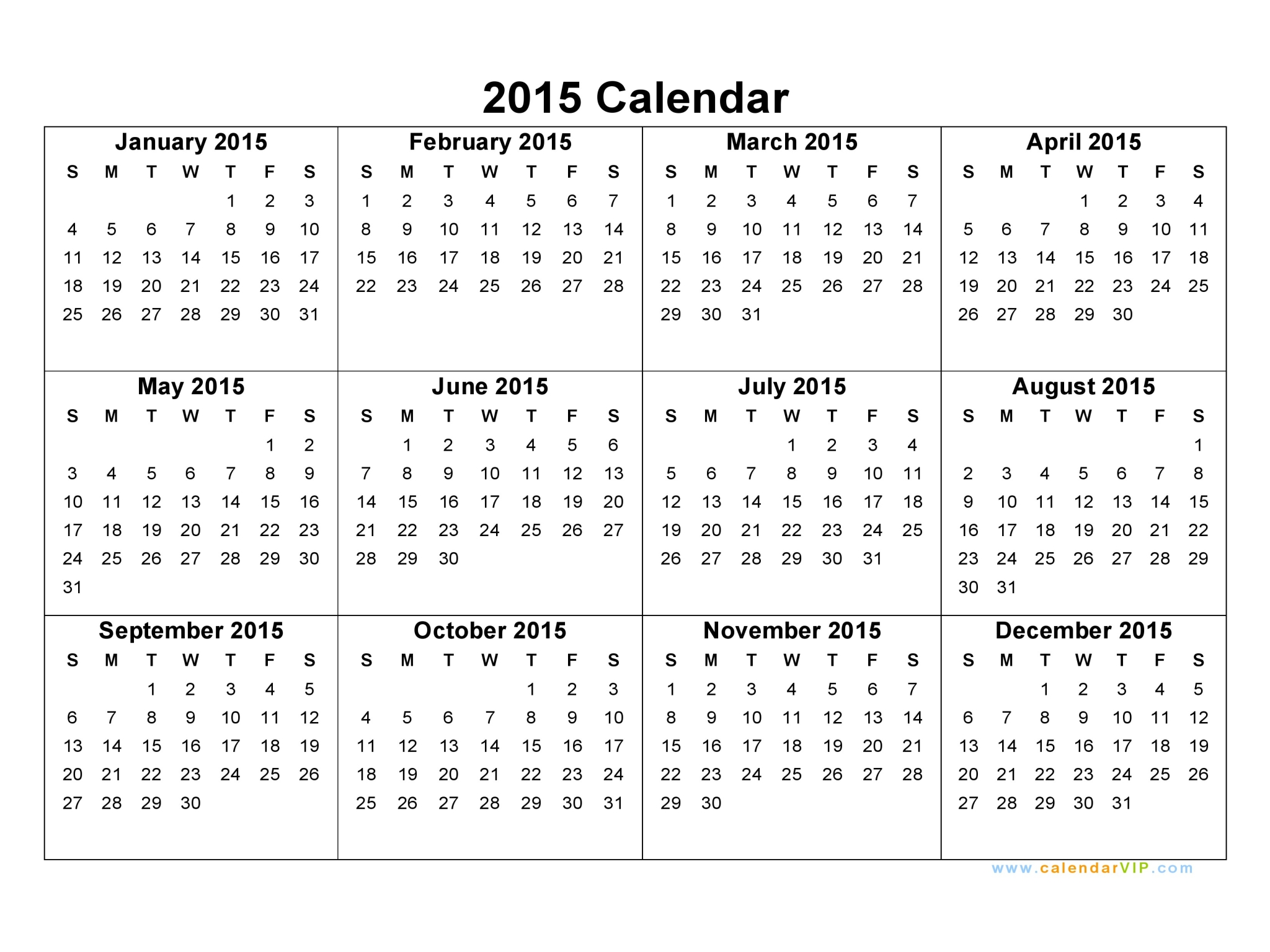 Yearly Calendar 2015 | 2017 calendar with holidays