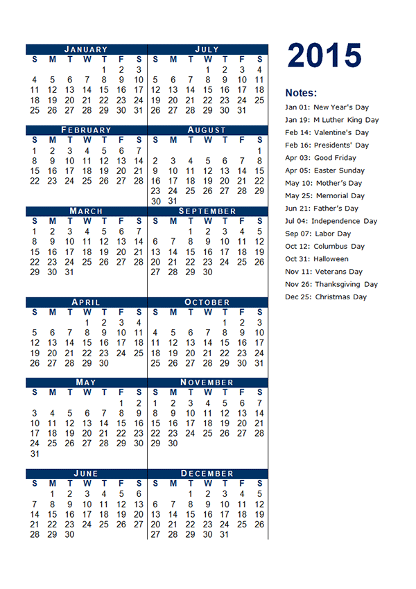 2015 Yearly Calendar Template 04 Free Printable Templates