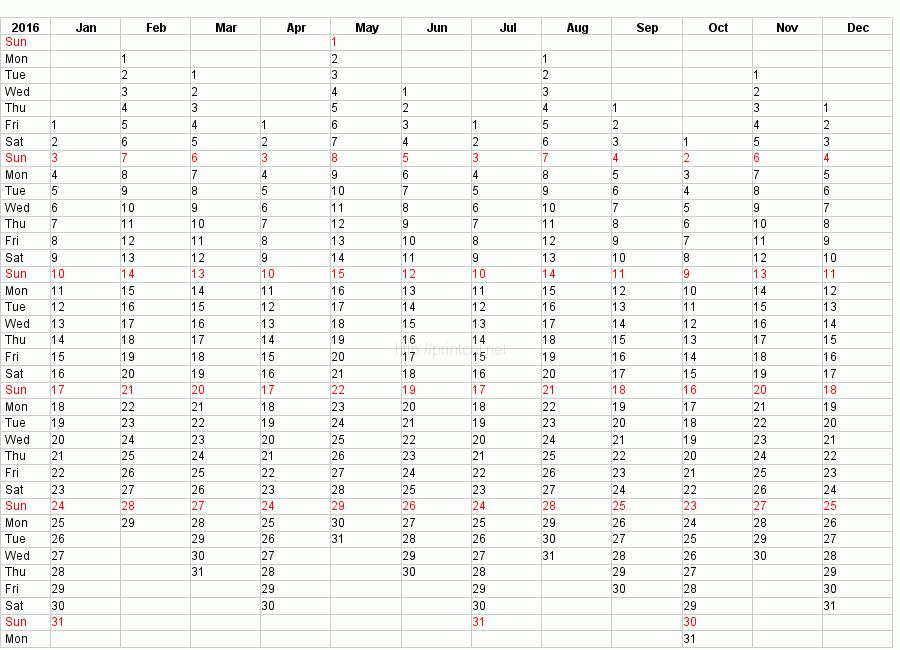 calendar yearly 2016