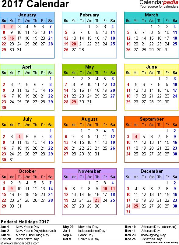 2017 Calendar PDF 17 free printable calendar templates