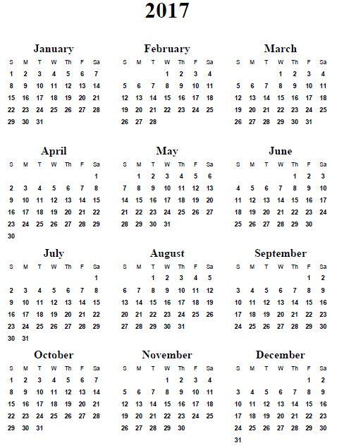 2017 Yearly Calendar Templates Download FREE Printable Calendar