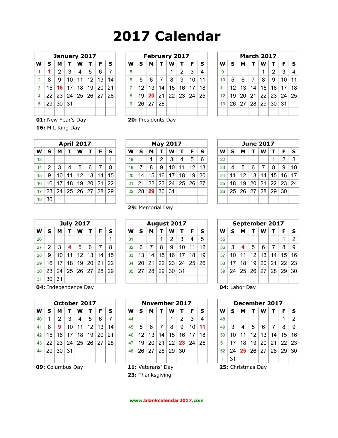 Blank Calendar 2017