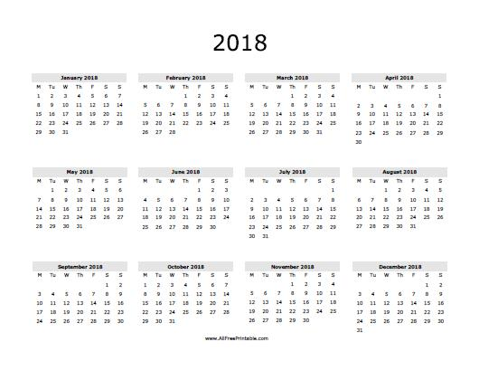 2018 Calendar Printable | yearly calendar template