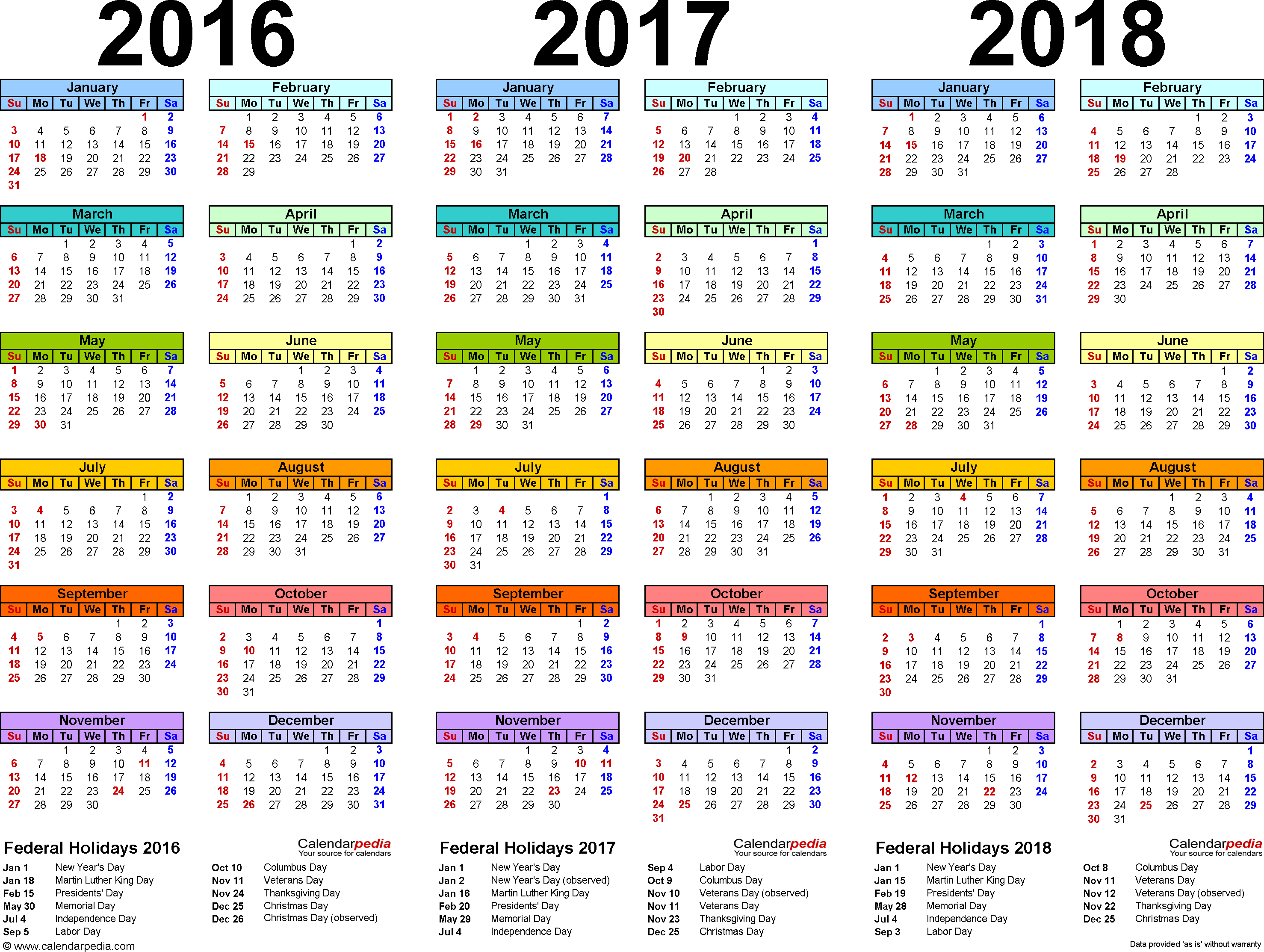 2016/2017/2018 calendar 4 three year printable PDF calendars