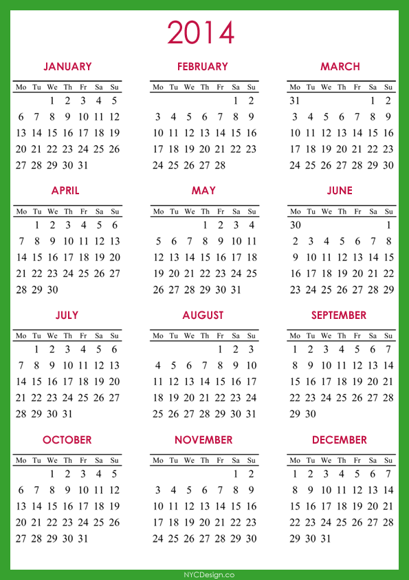Yearly Calendar A4 Templates Free Printable
