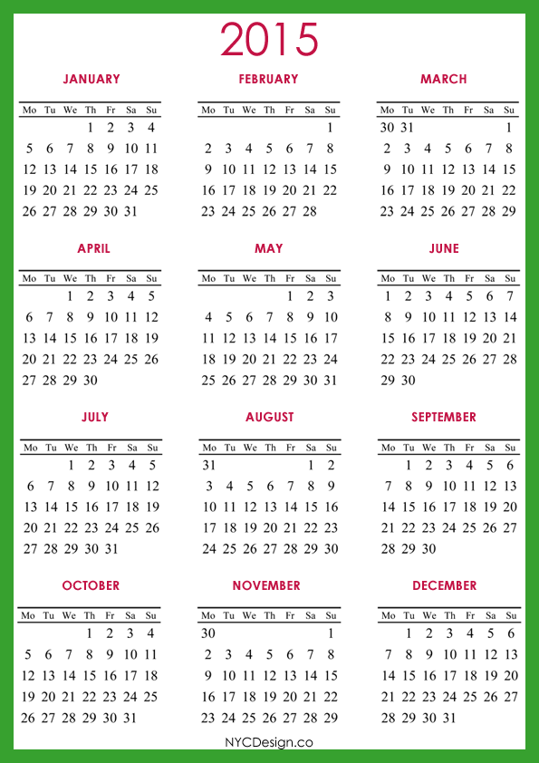 Free Printable Yearly Calendar Templates 2015 Choice Image