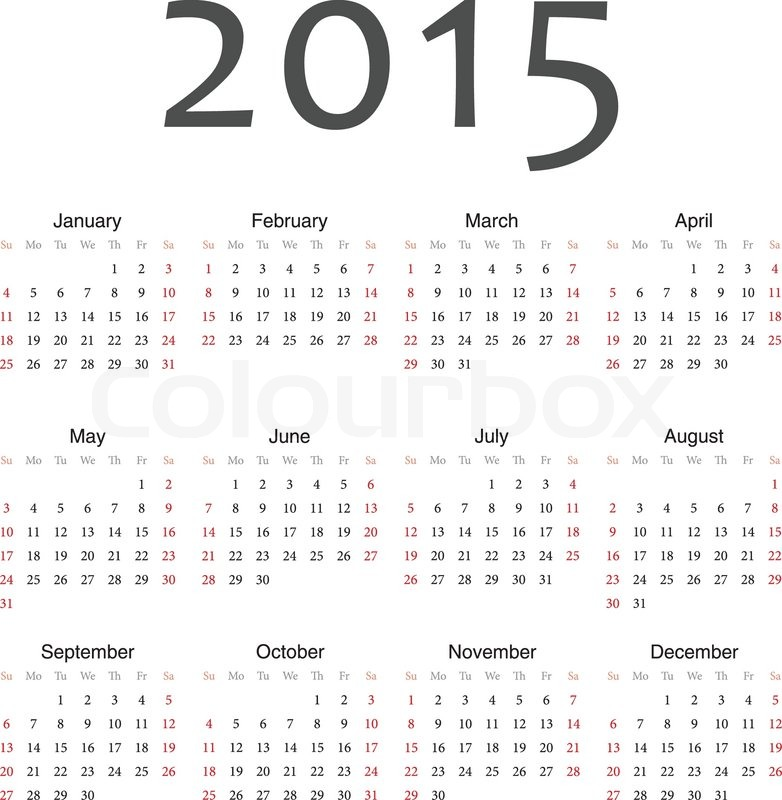 Yearly Calendar By Month 2015 | yearly calendar template