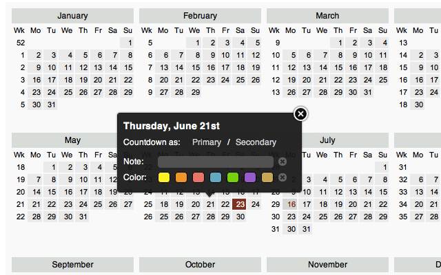 Calendar and Countdown Chrome Web Store