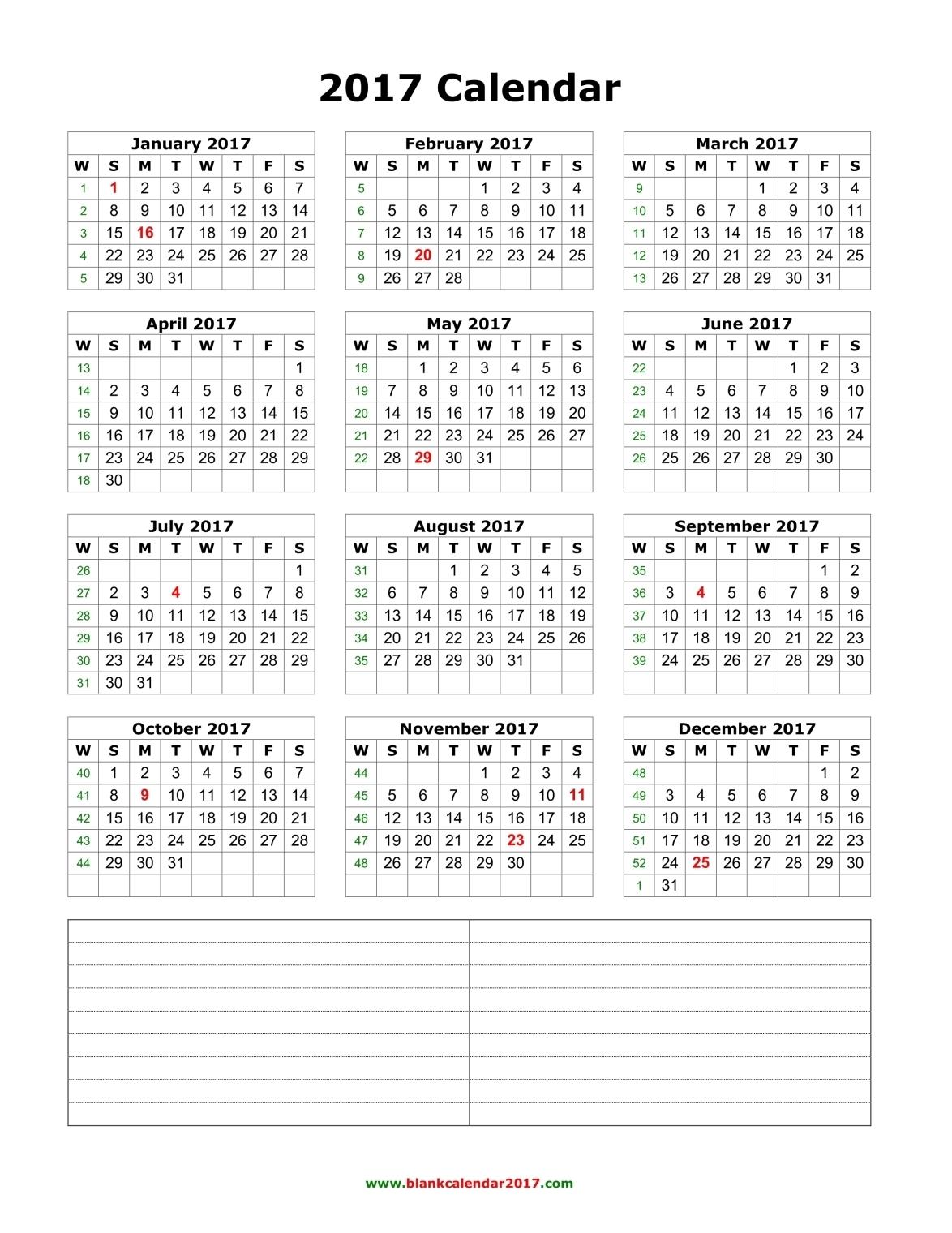 Yearly calendar – Year 2017 Yearly horizontal planning Calenweb.com