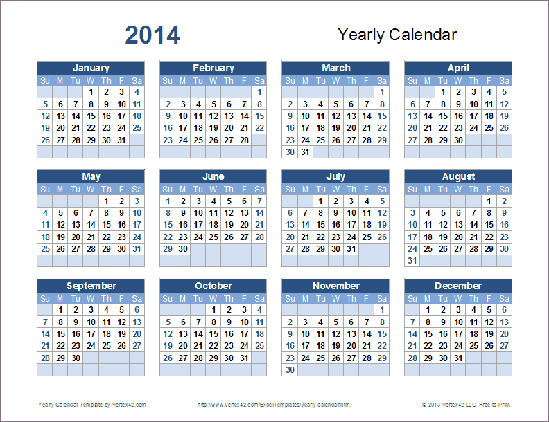 Yearly calendar template templates free printable for Conflict calendar template