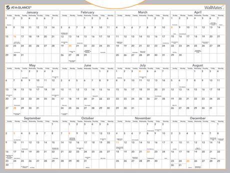 WallMates™ Dry Erase Yearly Calendar