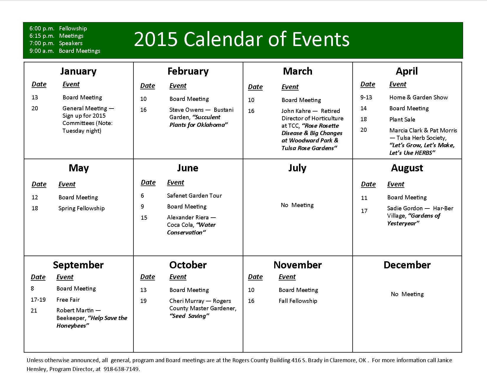 Yearly events calendar templates free printable for Annual calendar of events template