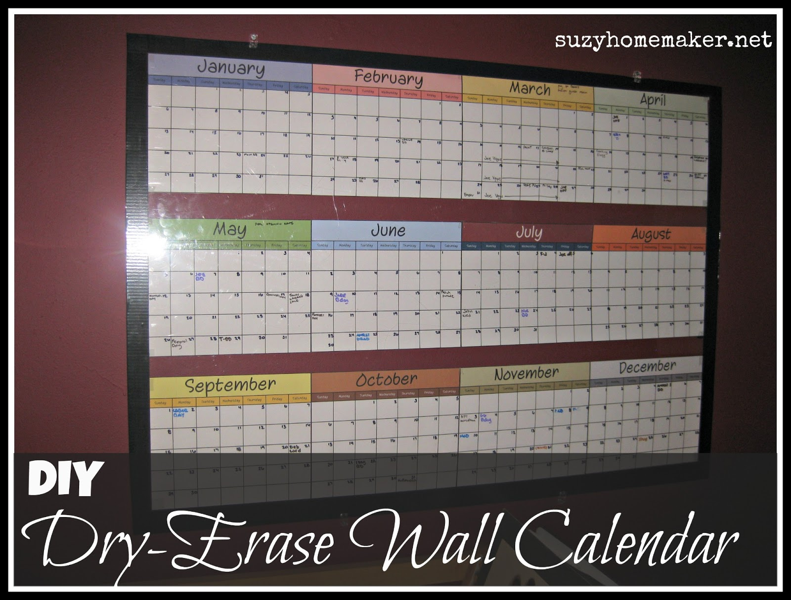 Diy Large Wall Calendar : Yearly wall calendar dry erase templates free printable