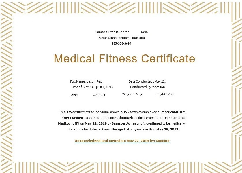 Medical Fitness Certificate Form