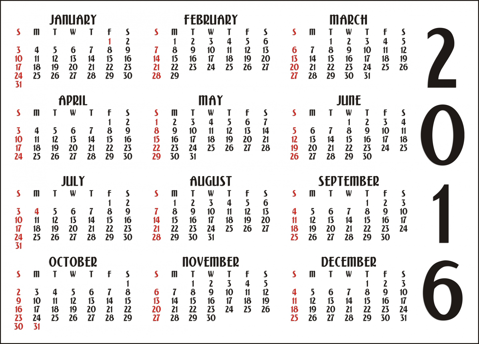 12 Month Calendar 2016 Free Stock Photo Public Domain Pictures