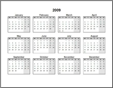 2009 Calendar | 2017 calendar with holidays