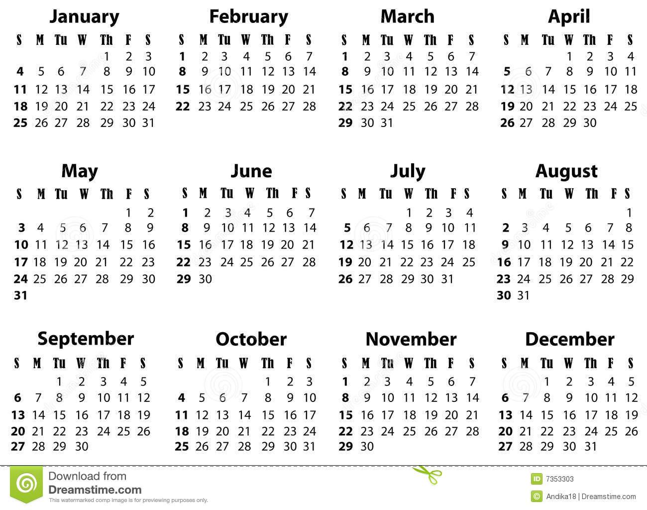 A Calendar For 2009 And 2020 Stock Photos Image: 7353303