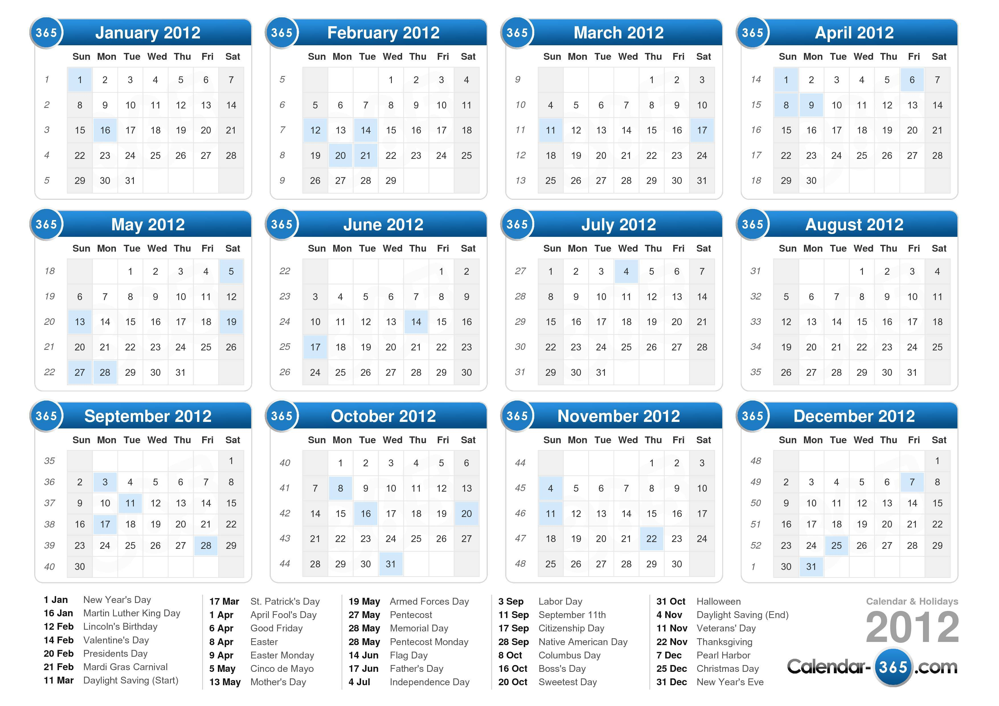 2012 calendar | 2017 calendar with holidays