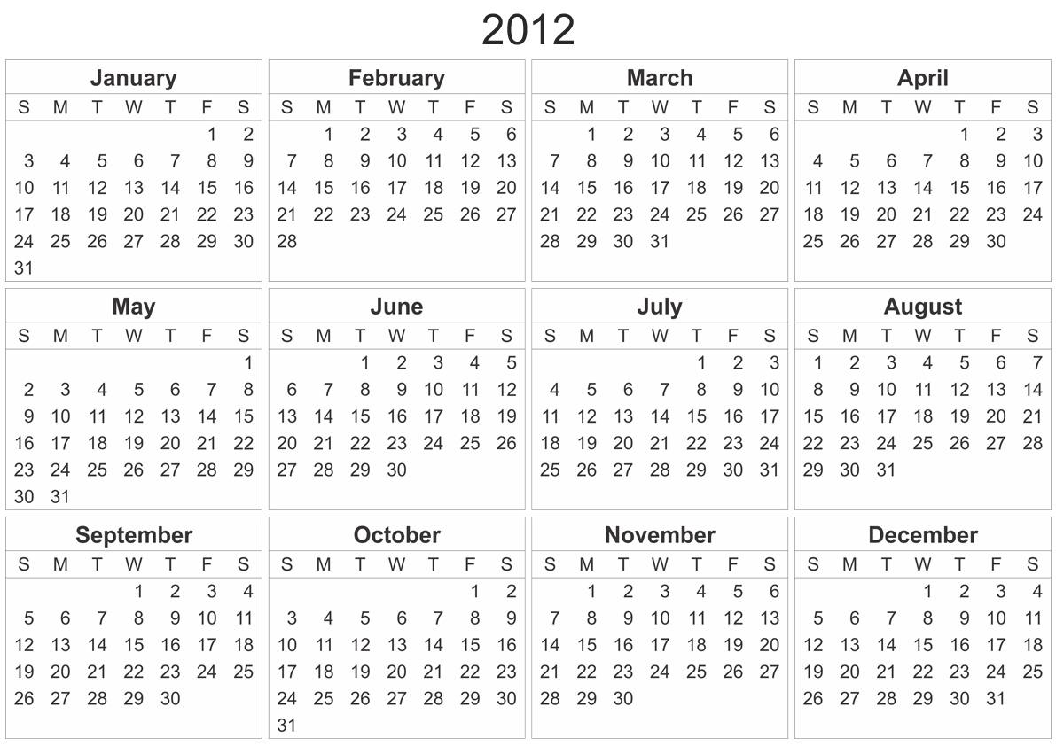 2012 calendar template.
