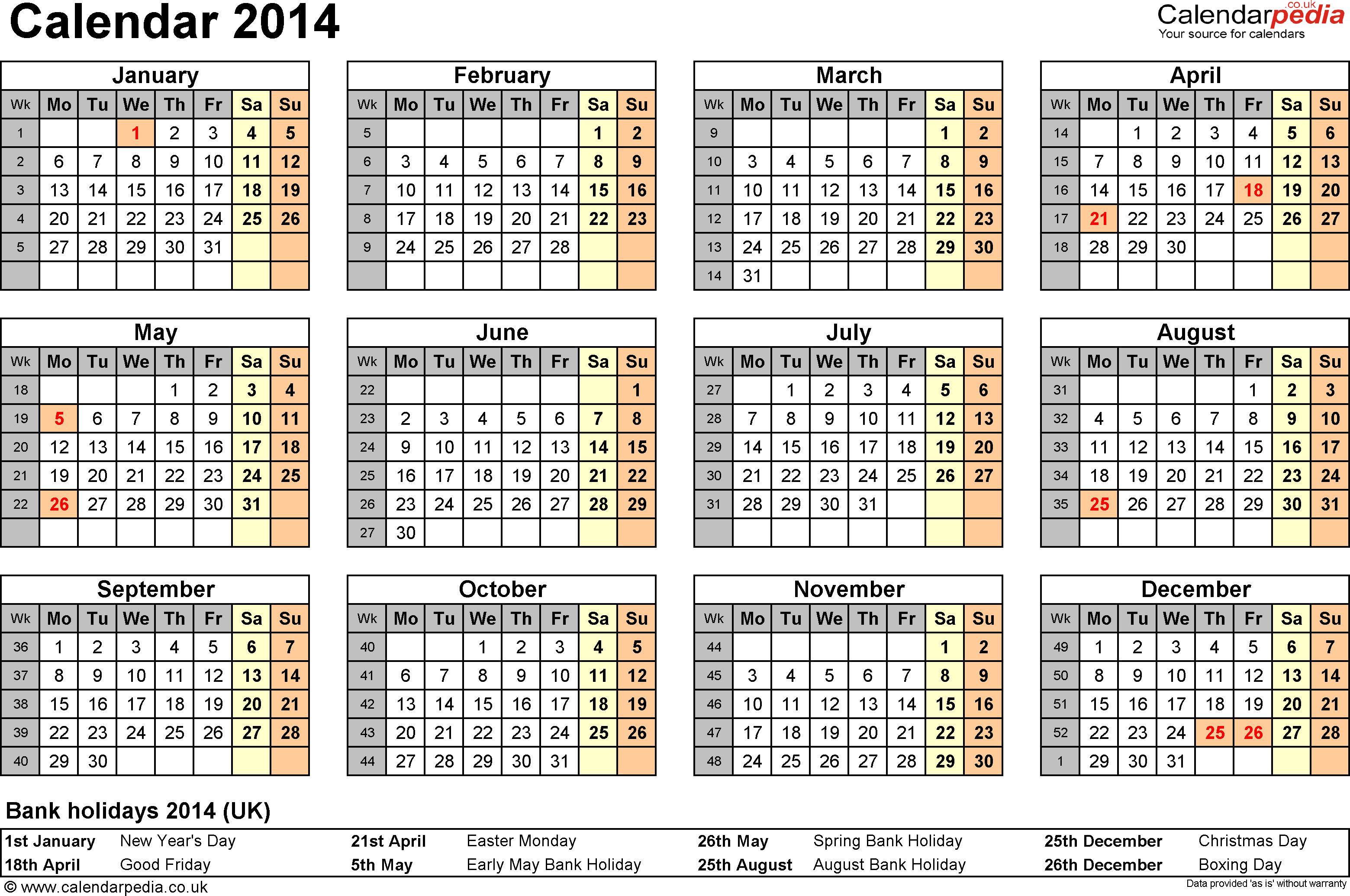 Calendar 2014 PDF (UK): 15 printable templates (free)