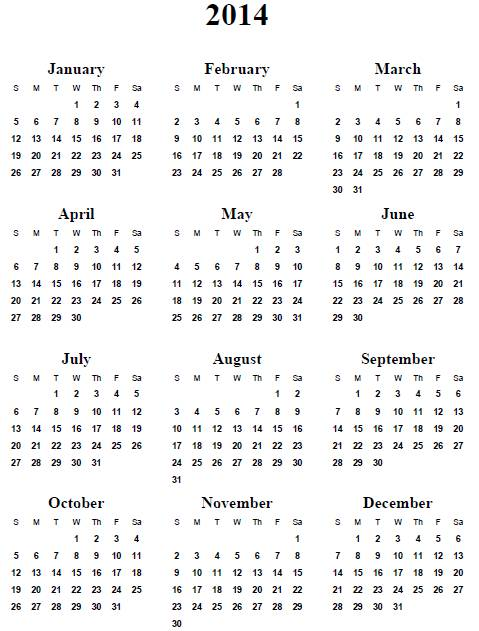 2014 calendar printable | 2017 calendar with holidays