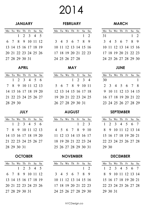 2014 Calendar Printable | yearly calendar printable