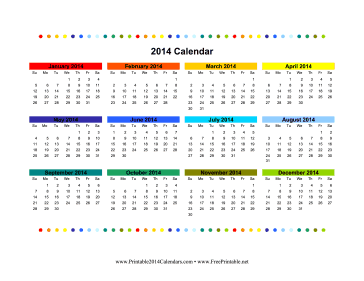 Printable 2014 Colorful Calendar