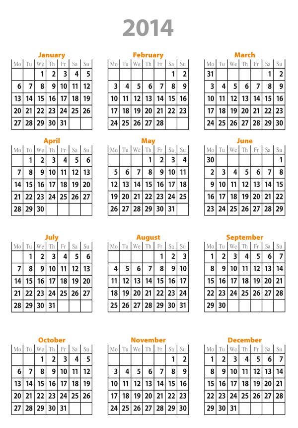 Free Calendar Template 2014 | sadamatsu hp