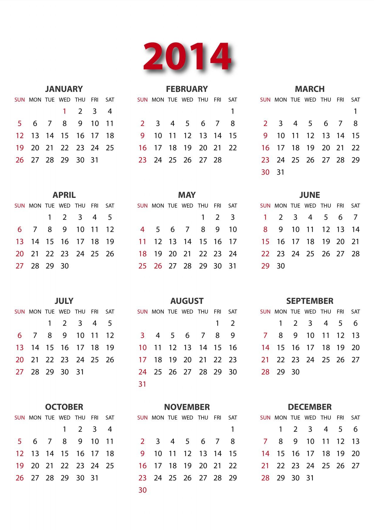 2014 calendar Gannt Chart