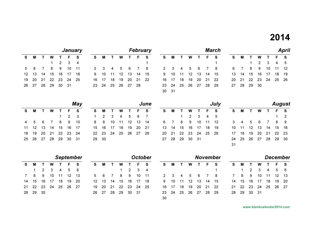 Yearly Calendar Template 2014 | great printable calendars