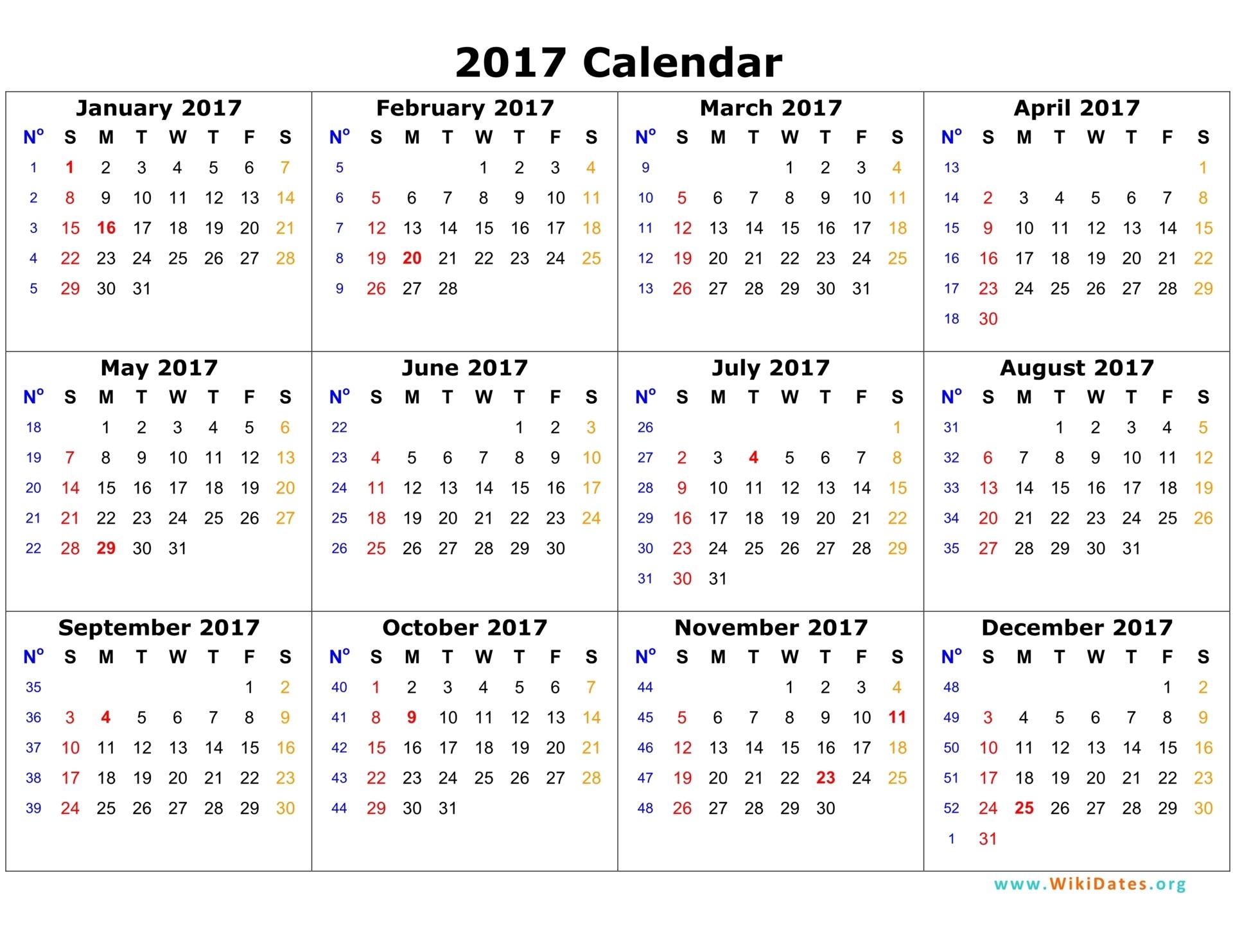 2017 Calendar | WikiDates.org