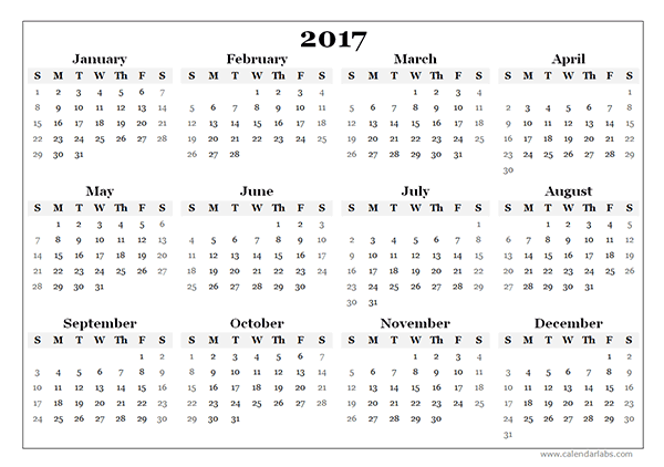2017 Yearly Blank Calendar Template Free Printable Templates