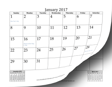 February calendar 2017 month
