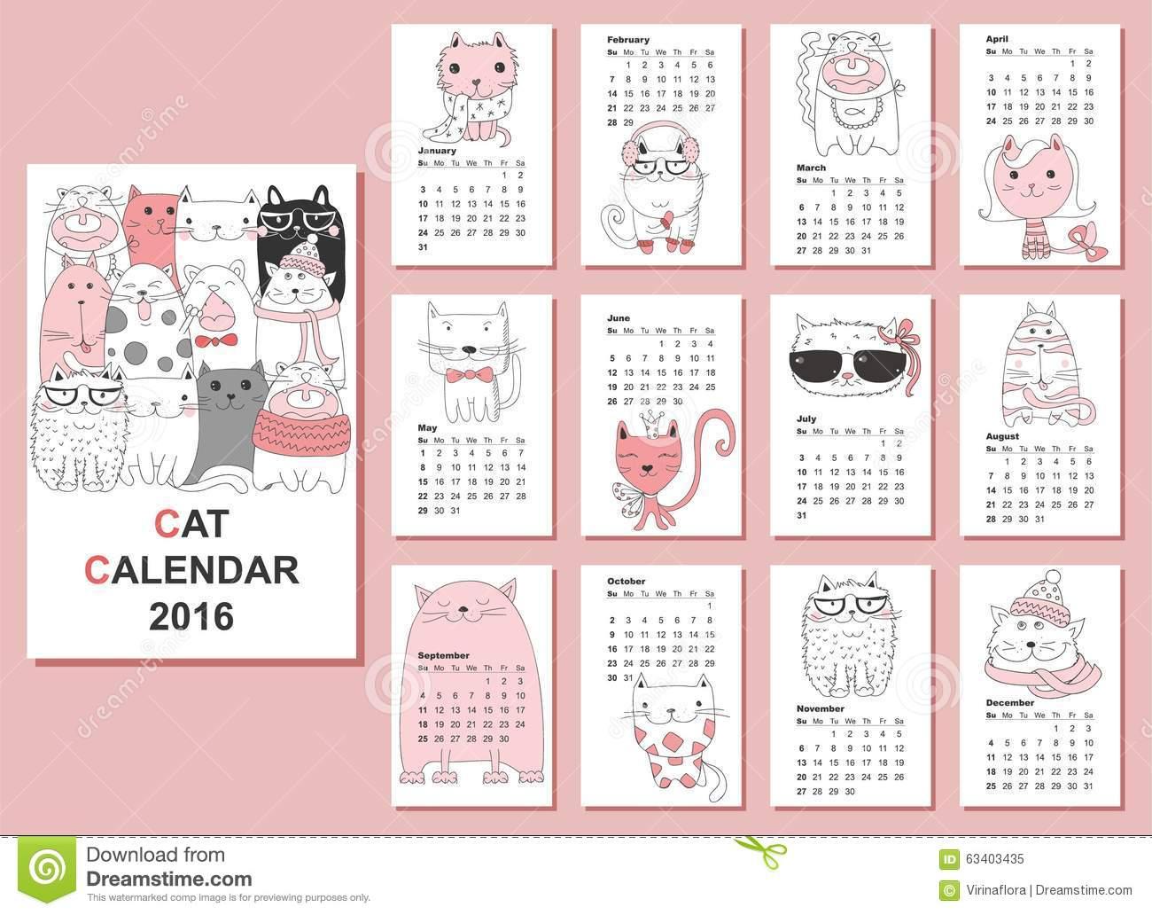 Cat Calendar 2017. Cute Funny Cartoon Character Set. January
