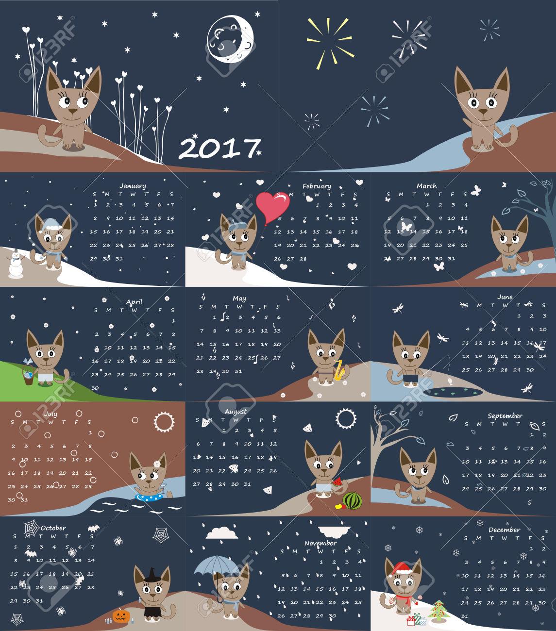 Cute 2017 Calendar | blank calendar printable