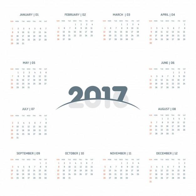 Cute calendar 2017 Vector | Free Download
